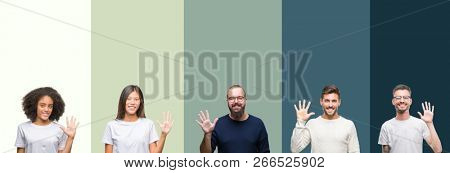 Collage of group of young people over colorful isolated background showing and pointing up with fingers number five while smiling confident and happy.