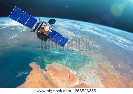Space Communications Satellite In Low Orbit Around The Earth. Elements Of This Image Furnished By Na