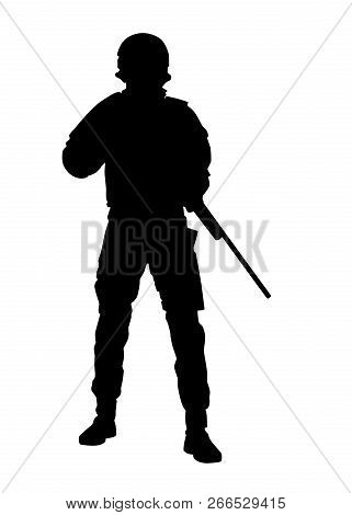 Police Forces Sniper With Rifle Vector Silhouette