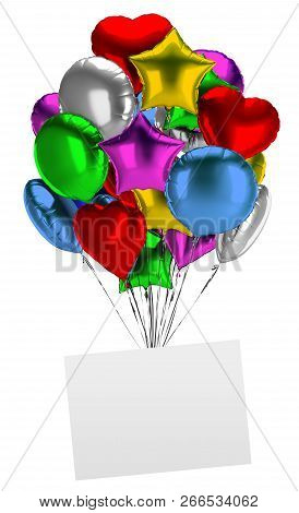 Bunch Of Balloons With An Empty Board. 3d Image. Isolated White Background.