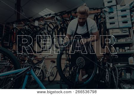 Bicycle Shop. Bicycle Repair. Salesman Using A Bicycle. Bicycle Is Broken. Salesman Using Wheel Of B