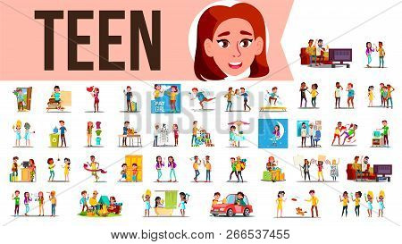 Teen Set Vector. Teenager Spending Time Together At Home, Outdoor. Girl, Guy. Lifestyle Situations.