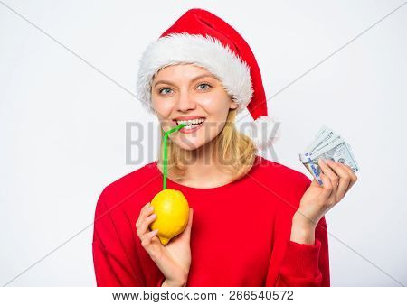Christmas Profit Concept. Symbol Of Wealth And Richness. Rich Girl With Lemon And Money. Lemon Money