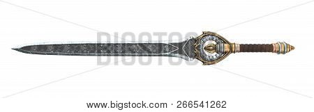 Fantasy Long Sword With Patterns And Leather On The Handle On An Isolated White Background. 3d Illus