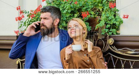 Dating Businessman. Couple In Love Sit Cafe Terrace Enjoy Coffee While Man Speak Phone. Girl Dating