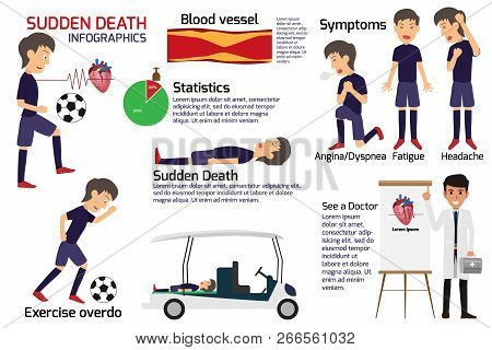 Soccer Player Having A Sudden Death Attack Infographics, Medical And Health Concept In Heart Attack