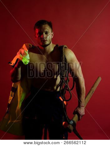 Site Is Under Construction. Construction Worker Or Man Miner With Mining Equipment. Muscular Man Wor
