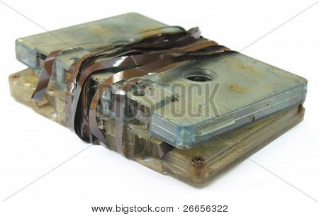 Close up of garbage audio cassette