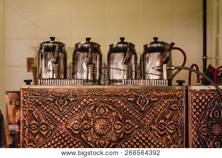 Traditional Turkish Teapots On Forged Copper Tea Boiler In A Turkish Tea House