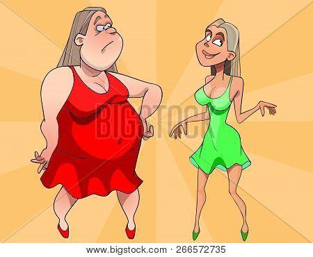 Two Cartoon Women Sad Fat And Joyous Thin