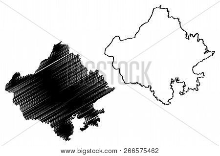 Rajasthan (states And Union Territories Of India, Federated States, Republic Of India) Map Vector Il
