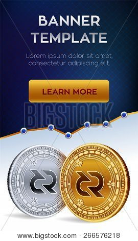 Cryptocurrency Editable Banner Template. Decred. 3d Isometric Physical Bit Coin. Golden And Silver D