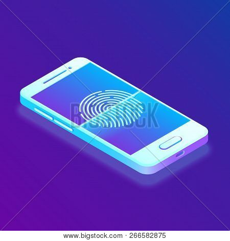Scanning Fingerprint On Smartphone. Unlock Mobile Phone. Biometrics Security. Touch Screen Smartphon
