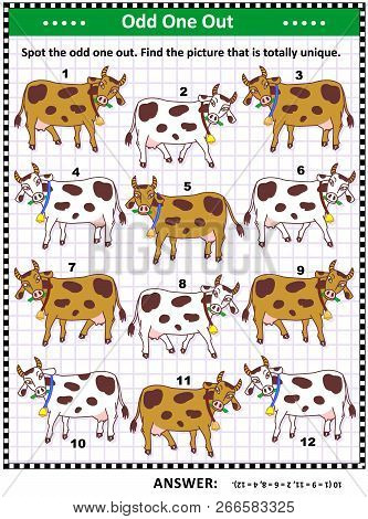 Iq Training Visual Puzzle With Milk Cows On The Pasture (suitable Both For Kids And Adults): Spot Th