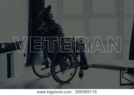 Military Veteran. Disabled Man In A Wheelchair. Man Sits In Front Of Window. Man Looking Up. Man Thi