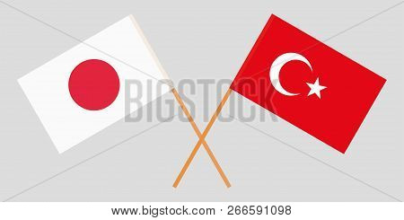 The Crossed Turkey And Japan Flags. Official Colors. Vector