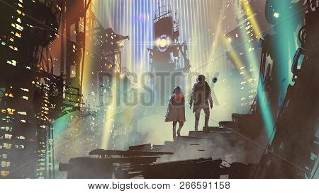 Couple In The Futuristic City At Night With Buildings And Light Beams, Digital Art Style, Illustrati