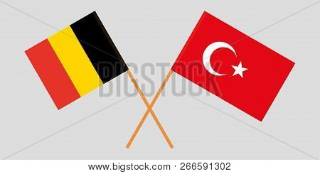 The Crossed Turkey And Belgium Flags. Official Colors. Vector Illustration