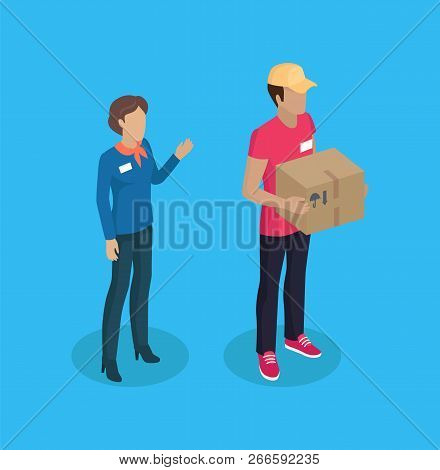 Delivery Man And Manager Woman With Name Badge On Jacket. Lady With Greeting Gesture And Deliverer H