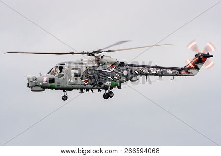 Leeuwarden, The Netherlands - Sep 17, 2011: Special Painted Black Cats British Royal Navy Westland L