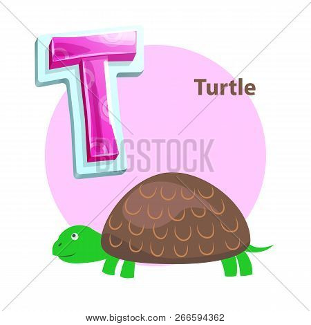 Letter T For Turtle Cartoon Alphabet For Children. Volume Symbol With Pattern, Reptile With Green Mu