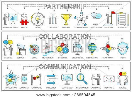 Partnership Collaboration And Communication Set. Performance And Unity Team Growth And Win-win Situa