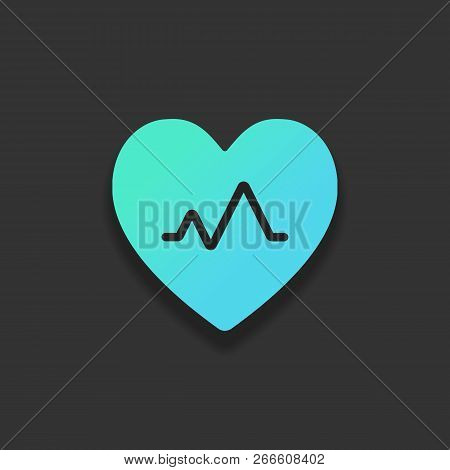 Cardiac Pulse. Heart And Pulse Line. Simple Single Icon. Colorful Logo Concept With Soft Shadow On D