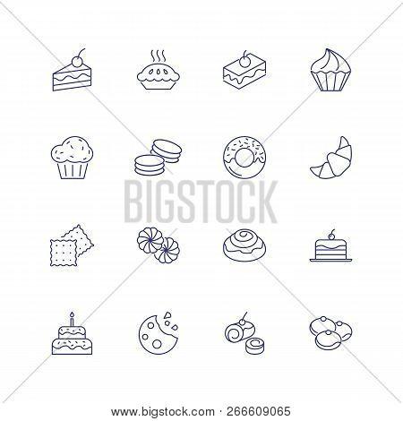 Dessert Line Icon. Set Of Line Icons On White Background. Cake Piece, Chocolate Bun, Cookie. Bakery
