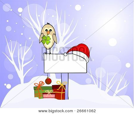 Winter card with lucky bird and gifts