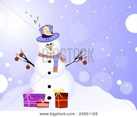 Snowman with singing bird and gifts