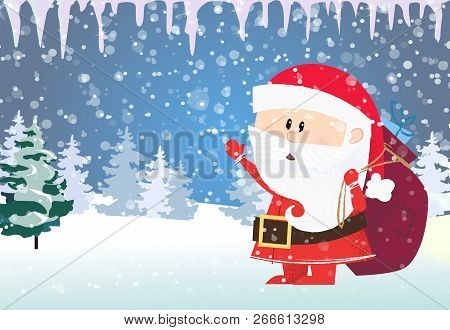 christmas and new year card template santa claus carrying gifts snowy fir trees