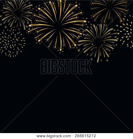 Firework Gold Sparkle Background Card. Beautiful Bright Fireworks Isolated On Black Background. Ligh