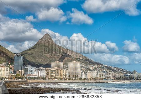 Cape Town, South Africa, August 17, 2018: A View Of Sea Point In Cape Town In The Western Cape Provi