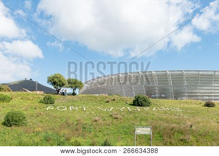Cape Town, South Africa, August 17, 2018: Fort Wynand With The Cape Town Stadium At Green Point In T