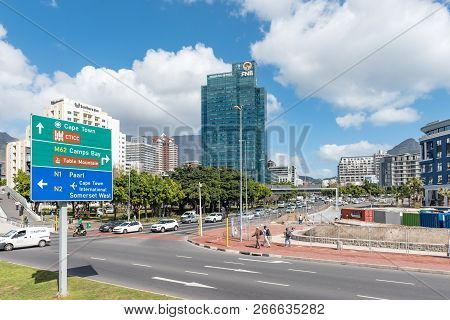Cape Town, South Africa, August 17, 2018: A View Of Road M62 At The Junction With Dock Road In The C