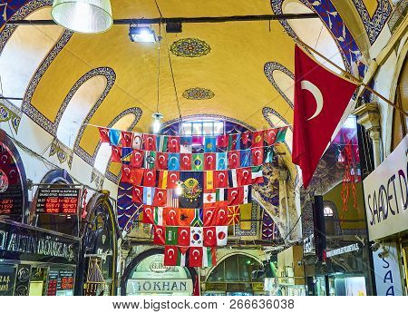Istanbul, Turkey - July 11, 2018. Flags At The Passageways Of The Kapali Carsi, The Grand Bazaar Of