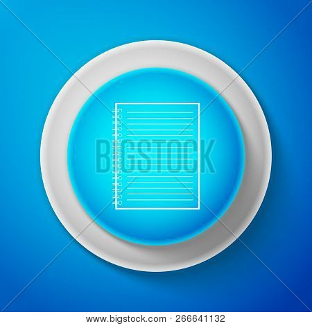 White Notebook Icon Isolated On Blue Background. Spiral Notepad Icon. School Notebook. Writing Pad.