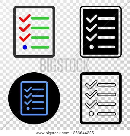 Task List Page Eps Vector Pictograph With Contour, Black And Colored Versions. Illustration Style Is