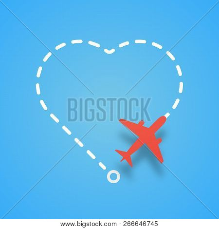 Airplane Flying With Dashed Route Like A Heart. Vector Red Air Plane Flight On White Route On Blue B