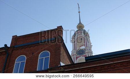 Pitirim Gymnasium and Bell Tower of Kazan Monastery in Tambov, Russia poster