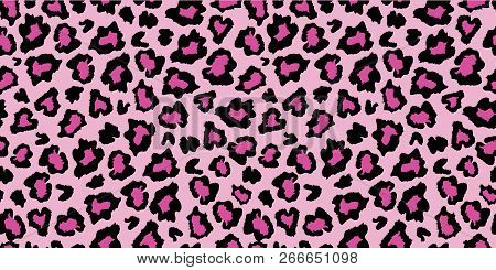 Pink And Black Leopard Skin Fur Print Pattern. Great For Classic Animal Product Design, Fabric, Wall