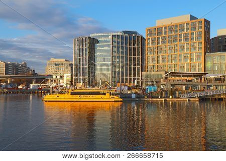 Washington, Dc - December 7 2017: Water Taxi At The Wharf, Buildings And Skyline At The Newly Redeve