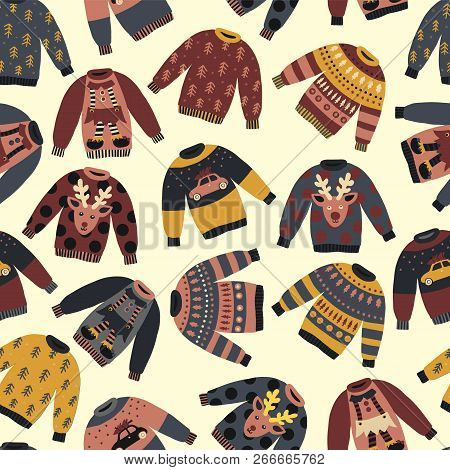 Christmas Holiday Sweaters Seamless Vector Pattern. Knitted Ugly Winter Jumpers With Norwegian Ornam