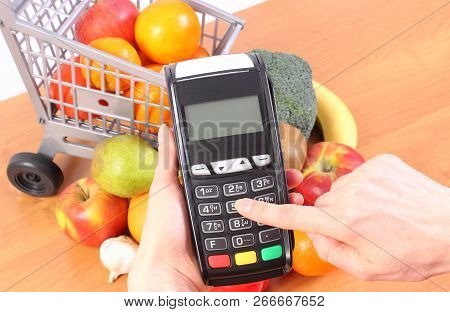 Hand Of Woman Using Payment Terminal, Enter Personal Identification Number, Credit Card Reader And F
