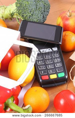 Credit Card Reader, Payment Terminal With Smartphone With Nfc Technology And Fruits And Vegetables I