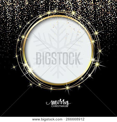 Festive Golden Sparkle Background. Glitter Border, Circle Frame. Black And Gold Vector Dust. Great F