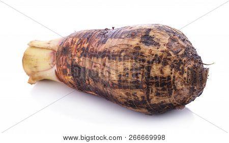 Sweet taro root, Satoimo potatoes or sliced of taro (Yautia Lila) isolated on white background poster