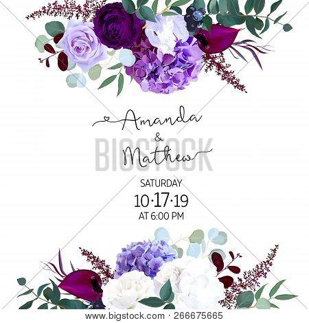 Elegant Seasonal Dark Flowers Vector Design Wedding Frame. Purple And Violet Rose, White And Deep Bl
