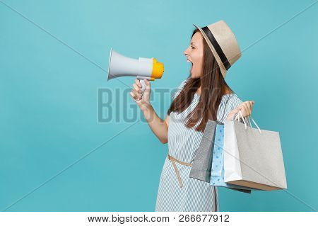 Portrait Woman In Summer Dress, Hat Holding Packages Bags With Purchases After Shopping, Scream In M