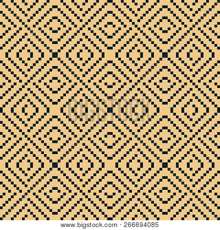 Vector Geometric Traditional Knitted Ornament. Fair Isle Seamless Pattern. Folklore Ethnic Motif. Si